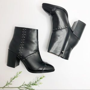 Report- Black Vegan Leather Studded Ankle Boots